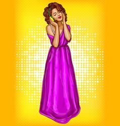 woman listening music in headphones pop art vector image