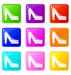 Women shoes on platform icons 9 set vector