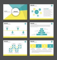 Yellow green presentation templates infographic vector