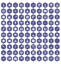 100 space icons hexagon purple vector