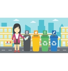 Woman throwing away plastic bottle vector