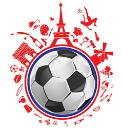 Soccer ball with france symbol vector