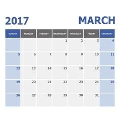 2017 march calendar week starts on sunday vector