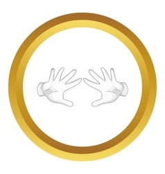 Magician hands in white gloves icon vector