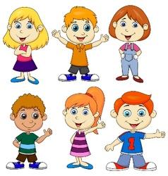 Boy and girl cartoon vector image