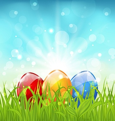 April background with easter colorful eggs vector