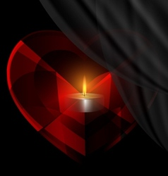 Heart-crystal and candle vector
