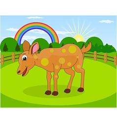 Cartoon deer and rural meadow vector image
