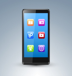 A smarthone with app icons vector