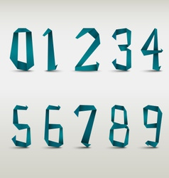 Folded blue paper numbers template vector