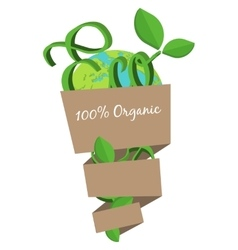 Organic eco bag concept green world natural vector