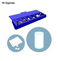 Pill organizer for each day of the week vector