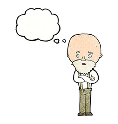 Cartoon worried old man with thought bubble vector