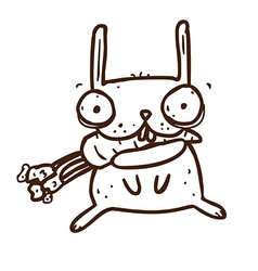 Hand drawn crazy rabbit with carrot vector
