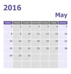 Calendar may 2016 week starts from sunday vector