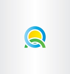Nature landscape icon letter q logo vector