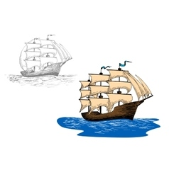 Sketch of old sailing ship at sea waves vector