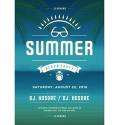 Retro Summer Holidays Beach Party Poster or Flyer vector image