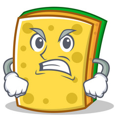 angry sponge cartoon character funny vector image vector image