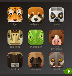 Animal faces for app icons-set 9 vector