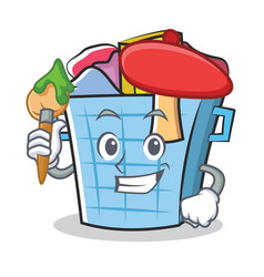 Artist laundry basket character cartoon vector