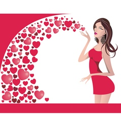attractive smiling woman with hearts vector image