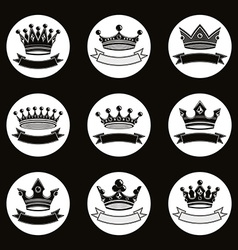 Black luxury crowns collection isolated 3d vector