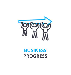business progress concept outline icon linear vector image vector image