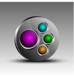 colorful spheres in emblem vector image