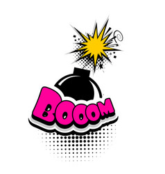Comic book text bubble advertising bomb boom vector
