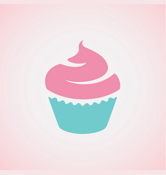 Cupcake on pink background vector