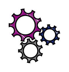 Drawing gear teamwork wheel mechanism power vector