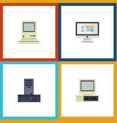 Flat icon computer set of computer computing vector