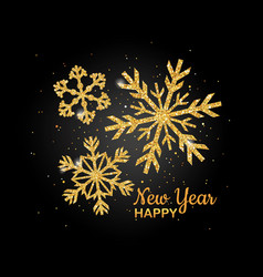 golden glitter snowflake happy new year nvitation vector image
