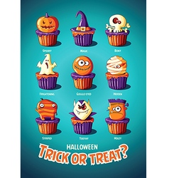Halloween vintage poster trick or treat cakes with vector