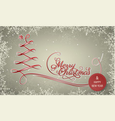 holiday winter banner with snowflake frame merry vector image