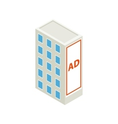 Large billboard on a building wall icon vector