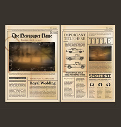 layout design front page of vintage newspaper vector image vector image