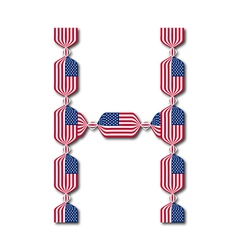 Letter H made of USA flags in form of candies vector image