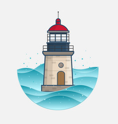 lighthouse on ocean waves vector image vector image
