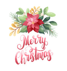 Merry christmas poinsettia vector