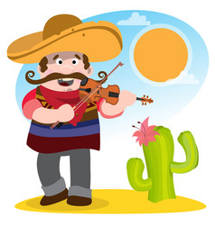 Mexican mariachi in sombrero and with a violin vector