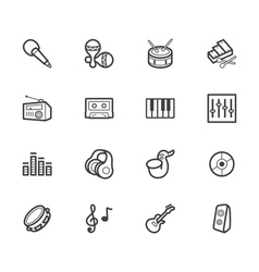 music element black icon set on white background vector image vector image