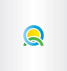 Nature landscape icon letter q logo vector