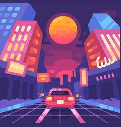Night neon city street 1980s style vector