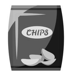 Packing with chips icon gray monochrome style vector