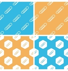 Paperclip pattern set colored vector