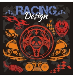 Racing design - elements for emblem vector image vector image