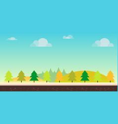 Seamless cartoon nature landscape hills trees vector