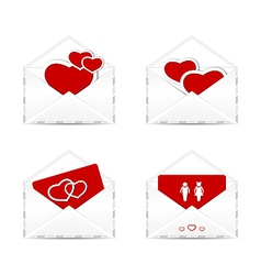 Set envelopes with valentine hearts and postcards vector image vector image